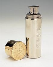 † JAMES PURDEY & SONS LTD. A NEW AND UNUSED PEWTER CARTRIDGE FLASK,