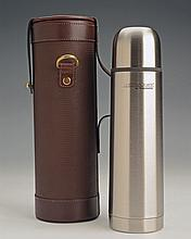 † JAMES PURDEY & SONS LTD. A NEW AND UNUSED LEATHER CASED THERMOS FLASK,