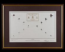 † JAMES PURDEY & SONS A FRAMED AND GLAZED 'LIMITED EDITION LEAD AND DISTANCE PRINT',