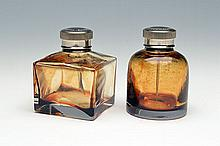 TWO GLASS OIL BOTTLES,