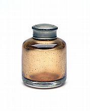 A VINTAGE GLASS OIL BOTTLE,