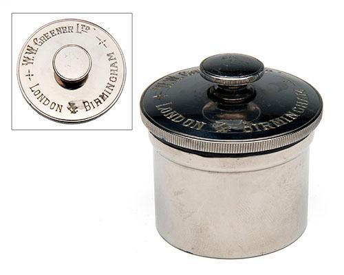 W.W. GREENER LTD. A LARGE NICKEL-PLATED GUNCASE OIL BOTTLE,