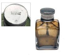 GIBBS LTD. BRISTOL A VINTAGE GLASS GUNCASE OIL BOTTLE,