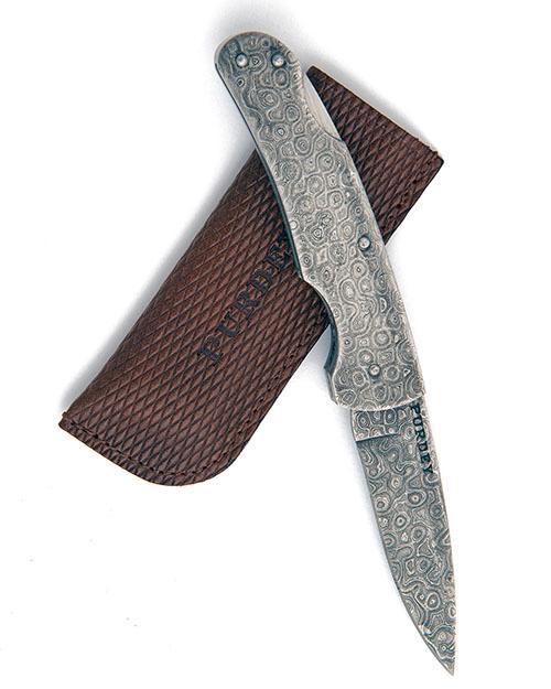 JAMES PURDEY & SONS A FULL DAMASCUS FOLDING POCKET KNIFE,