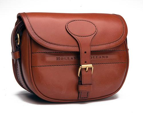 HOLLAND & HOLLAND A TAN LEATHER SUEDE-LINED CARTRIDGE BAG,