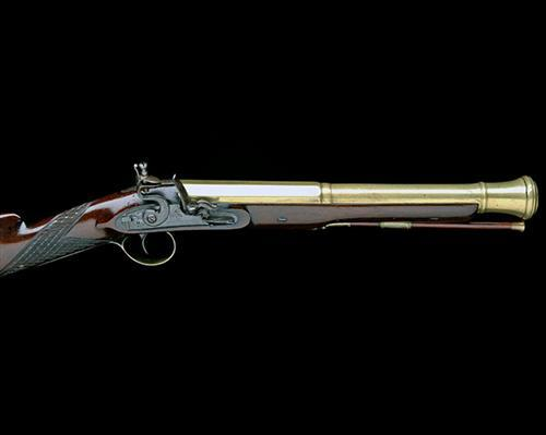 BECKWITH, LONDON A GOOD 16-BORE FLINTLOCK BRASS CANNON-BARRELLED BLUNDERBUSS, no visible serial number,