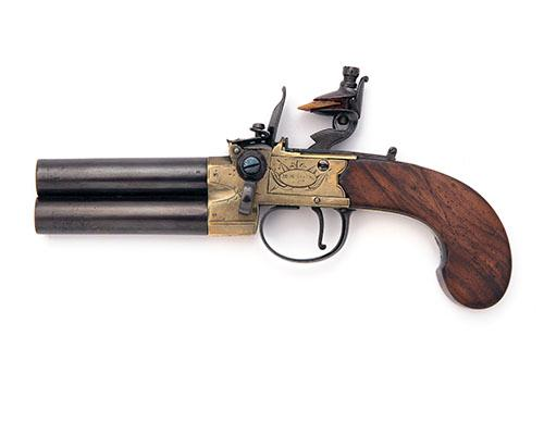 H. NOCK & CO, LONDON A 48-BORE FLINTLOCK TURN-OFF TAP-ACTION OVER-UNDER OVER-COAT PISTOL, no visible serial number,