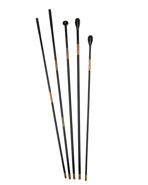 A COLLECTION OF FIVE VINTAGE EBONY AND BRASS SMALL-BORE GUN-CLEANING RODS,