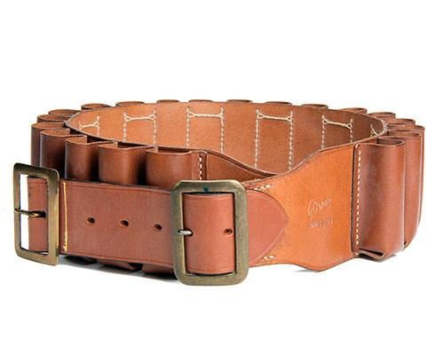 BRADY A LEATHER 4-BORE CARTRIDGE BELT,