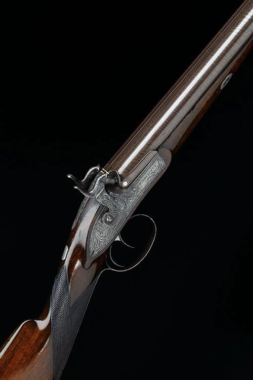 H. W. MORTIMER, LONDON A GOOD CASED 15-BORE PERCUSSION DOUBLE-BARRELLED SPORTING-GUN, no visible serial number,