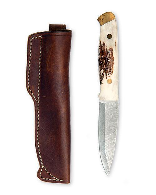 STUART MITCHELL, U.K A FINE BUSHCRAFT KNIFE WITH GRAND LEAVITT DAMASCUS BLADE,