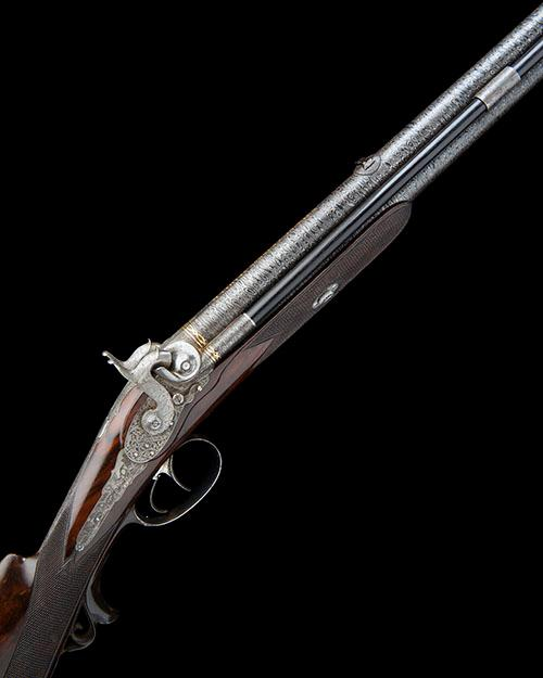 M. NOWOTNY, VIENNA AN EXCEPTIONAL 16-BORE PERCUSSION OVER-UNDER SPORTING-RIFLE, no visible serial number,
