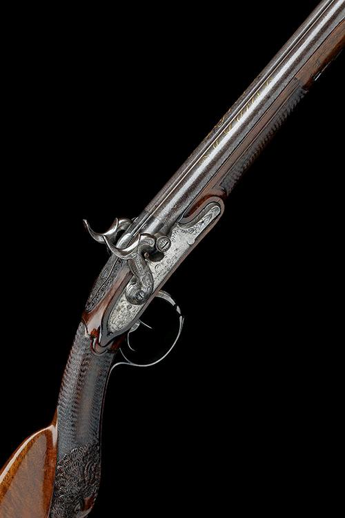 LEGROS, PARIS A FINE 22-BORE PERCUSSION DOUBLE-BARRELLED SPORTING-GUN, no visible serial number,