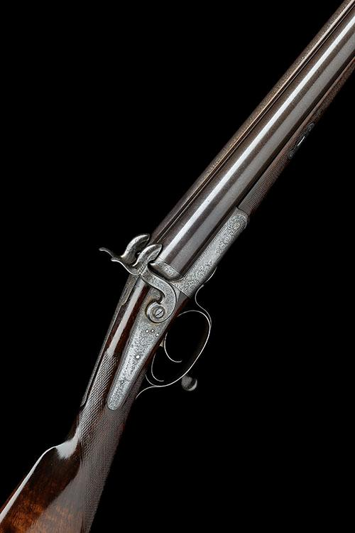 J. PURDEY, LONDON A CASED 12-BORE PINFIRE DOUBLE-BARRELLED HAMMER SPORTING-GUN, serial no. 5551,