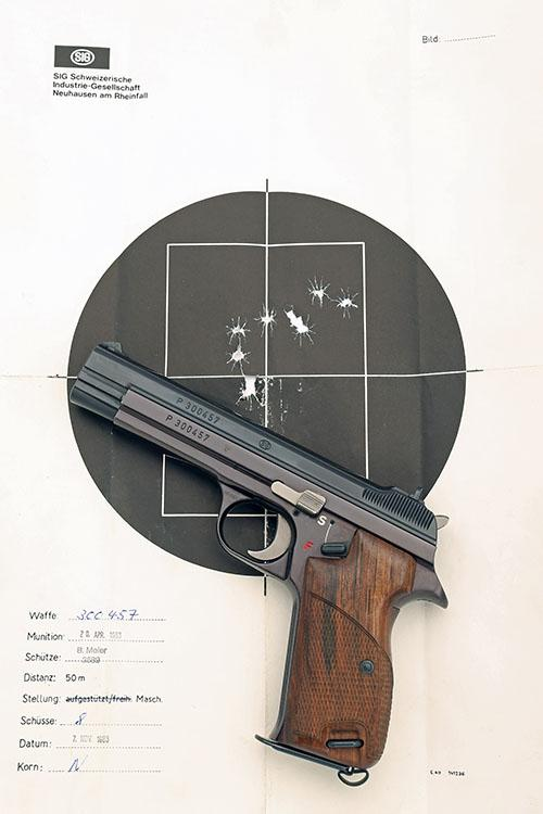 SIG, SWITZERLAND A BOXED 9mm (PARA) SEMI-AUTOMATIC TARGET-PISTOL, MODEL ''P210'', serial no. P300457,
