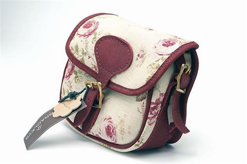 † BRADLEYS A NEW AND UNUSED CANVAS AND LEATHER PINK FLORAL AND ROSE RED TRIM SMALL CARTRIDGE BAG,