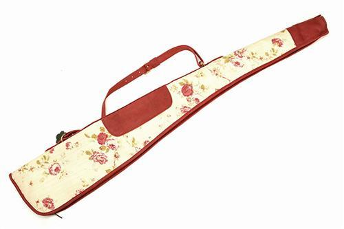 † BRADLEYS A NEW AND UNUSED CANVAS AND LEATHER PINK FLORAL AND RED ROSE TRIM SINGLE GUNSLIP,