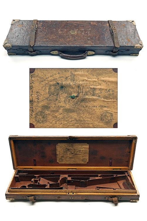 MORTIMER & SON A BRASS-CORNERED OAK AND LEATHER DOUBLE RIFLE CASE,
