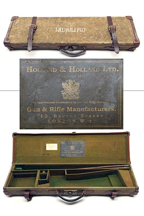 A CANVAS AND LEATHER SINGLE HAMMERGUN CASE,