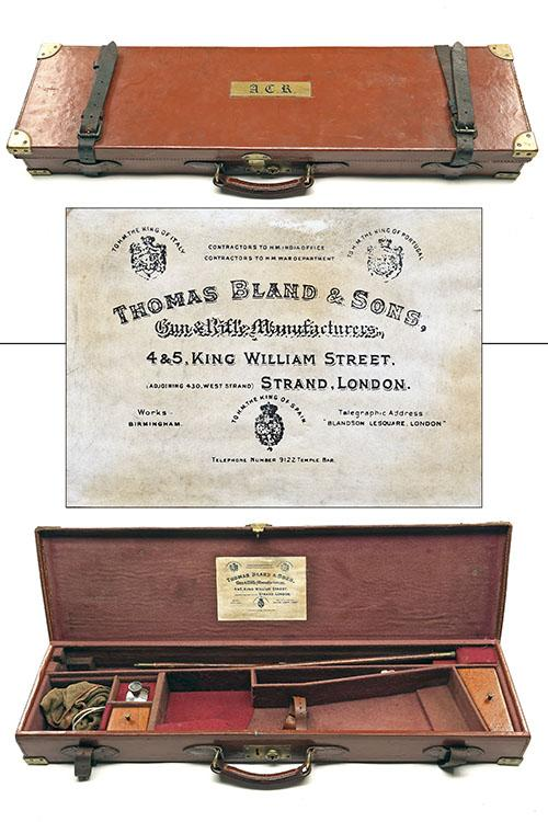 THOMAS BLAND A BRASS-CORNERED TAN LEATHER SINGLE HAMMERGUN CASE,