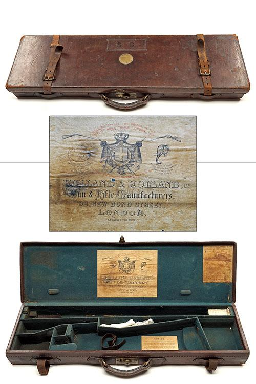 HOLLAND & HOLLAND A LEATHER SINGLE HAMMERGUN CASE,