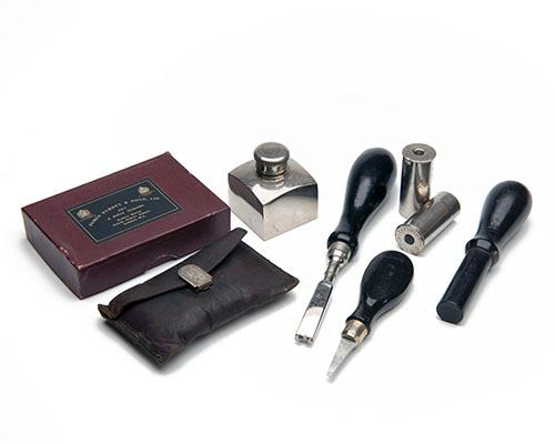 JAMES PURDEY & SONS A COLLECTION OF GUNCASE ACCESSORIES,