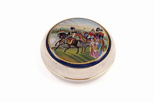 A HALCYON DAYS ENAMEL COMMISSIONED BY JAMES PURDEY & SON PAPER-WEIGHT