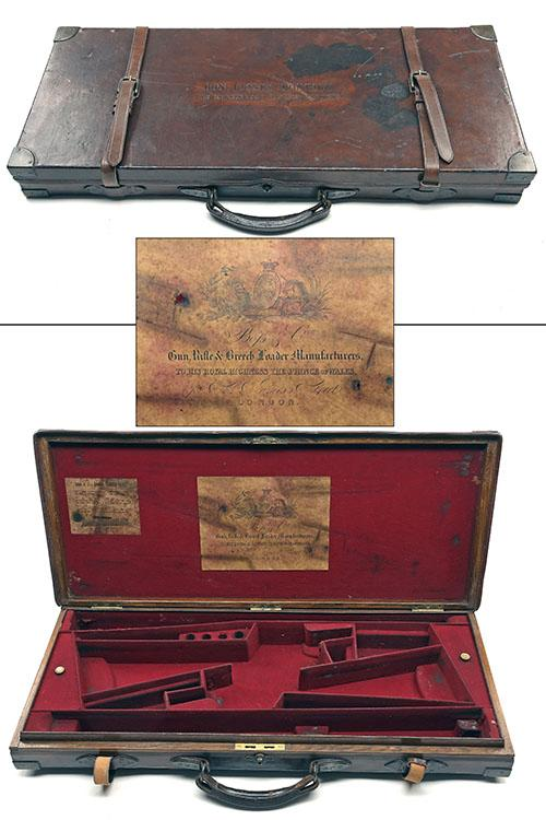 BOSS & CO. A BRASS-CORNERED OAK AND LEATHER DOUBLE GUNCASE,