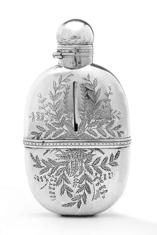 BROCKWELL & SON A FINE VICTORIAN FULL SILVER AND GLASS OVAL ENGRAVED HIP FLASK,