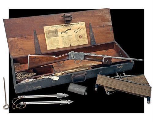 W.W. GREENER, BIRMINGHAM A CASED MARTINI-ACTION ''GREENER''S LIGHT MODEL HARPOON GUN'', serial no. 54,
