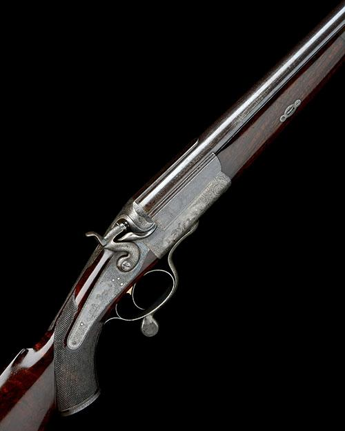 MADE FOR CHARLES GORDONJOHN DICKSON & SON A FINE 4-BORE SINGLE-BARRELLED ROTARY-UNDERLEVER HAMMER ''DUCK GUN'', serial no. 4566,