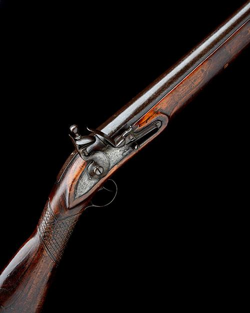A 6-BORE FLINTLOCK FOWLING-PIECE OR BANK-GUN OF EXTRAORDINARY LENGTH SIGNED GALTON, no visible serial number,