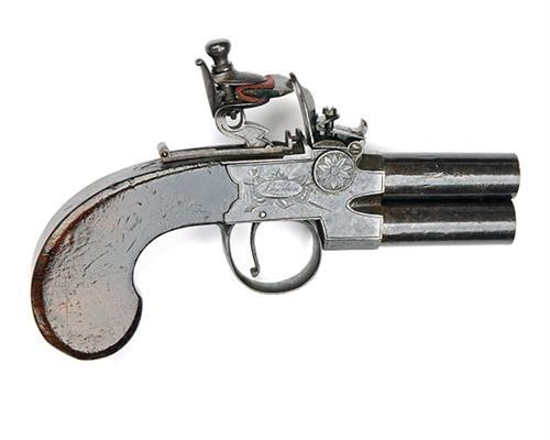 OAKES, LONDON A 60-BORE FLINTLOCK OVER-UNDER TAP-ACTION BOXLOCK POCKET-PISTOL, no visible serial number,