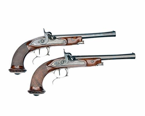 BRUNEEL, LYON A CASED PAIR OF 30-BORE PERCUSSION TARGET-PISTOLS, no visible serial numbers,