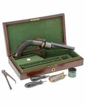 A CASED 54-BORE PERCUSSION TRANSITIONAL REVOLVER, UNSIGNED, no visible serial number,