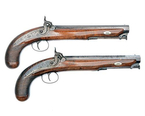 WESTLEY RICHARDS, LONDON & BIRMINGHAM A CASED PAIR OF 30-BORE PERCUSSION OFFICER''S PISTOLS, no visible serial numbers,