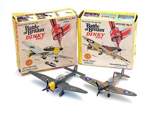DINKY TOYS, BRITAIN A BOXED PAIR OF DIECAST METAL TOY AIRCRAFT, No. 719 ''SPITFIRE MK II'' & No. 721 ''JUNKERS JU 87B STUKA'',