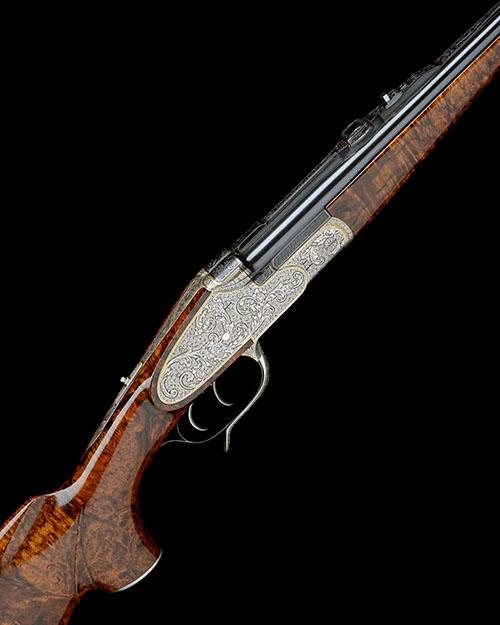 H. SCHEIRING A FINE 8X57 IRS JAEGER PATENT PUSH-FORWARD UNDERLEVER SIDELOCK EJECTOR DOUBLE RIFLE, serial no. 17123,
