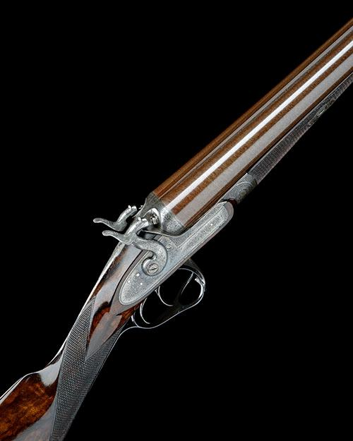 J. PURDEY A 12-BORE 1863 PATENT (SECOND PATTERN) THUMBHOLE-UNDERLEVER DOUBLE-BARRELLED BAR-IN-WOOD HAMMERGUN, no. 8664,