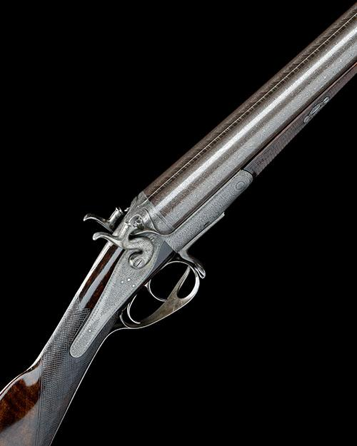 J. PURDEY A 12-BORE 1863 PATENT (FIRST PATTERN) SNAP-ACTION THUMBHOLE-UNDERLEVER HAMMERGUN, serial no. 6834,