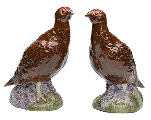 ROYAL DOULTON (BESWICK) A BRACE OF ''THE FAMOUS GROUSE'' WHISKEY DECANTERS,