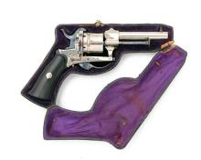 A CASED 7mm PINFIRE NICKEL-PLATED SIX-SHOT REVOLVER, UNSIGNED, MODEL ''LEFAUCHEUX TYPE'', no visible serial number,