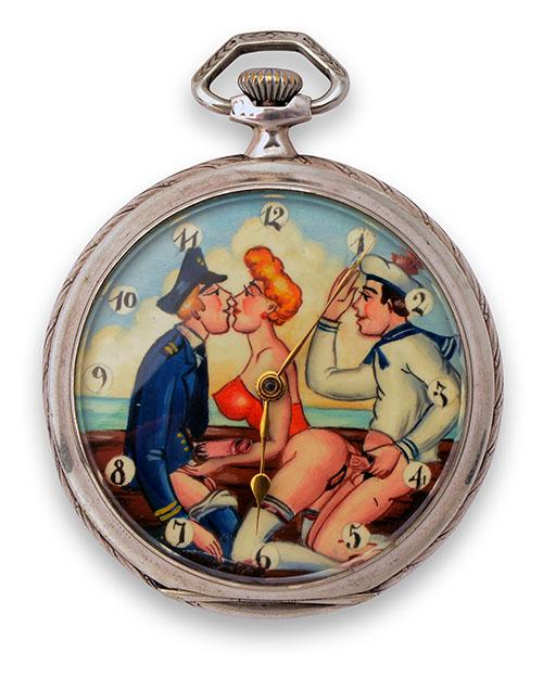 OMEGA, SWITZERLAND A GENTLEMANS EROTIC NOVELTY SILVER OPEN-FACE AUTOMATA POCKET-WATCH, ''ALL THE GIRLS LOVE A SAILOR'' ,