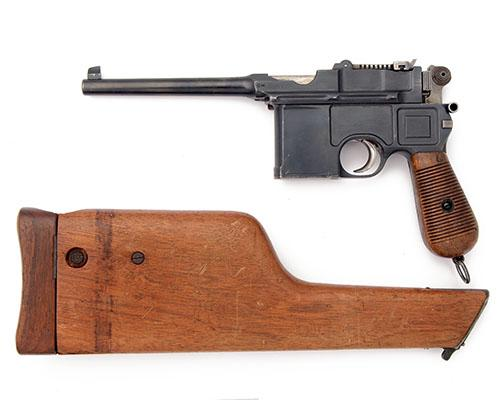 * MAUSER, GERMANY A 7.63mm (MAUSER) SEMI-AUTOMATIC PISTOL, MODEL ''C96 ''CONE-HAMMER BROOMHANDLE'', serial 11799, WITH MATCHING HOLSTER