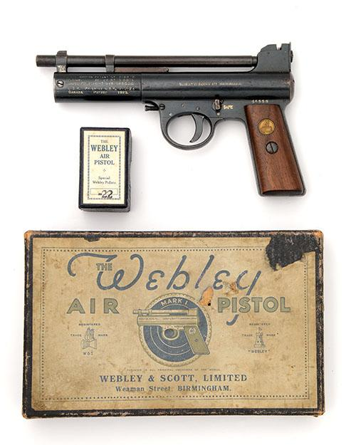WEBLEY & SCOTT, BIRMINGHAM A BOXED .22 BARREL-COCKING AIR-PISTOL, MODEL ''MARK I'', serial no. 45558,