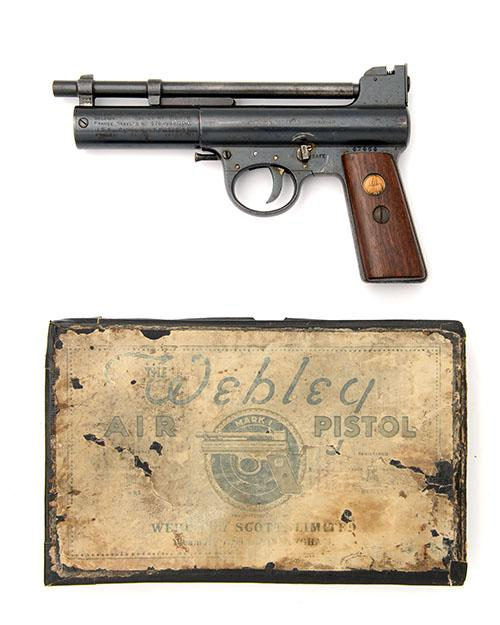WEBLEY & SCOTT, BIRMINGHAM A BOXED .177 BARREL-COCKING AIR-PISTOL, MODEL ''MARK I'', serial no. 47464,
