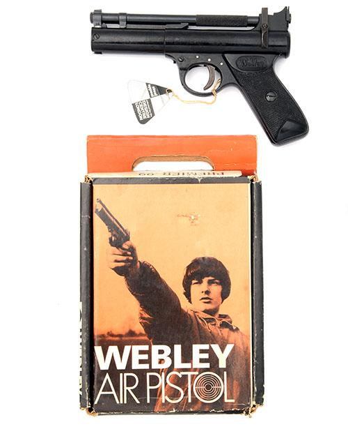 WEBLEY & SCOTT, BIRMINGHAM A BOXED .22 BARREL-COCKING AIR-PISTOL, MODEL ''PREMIER ''ENAMEL FINISH'''', batch no. 372,