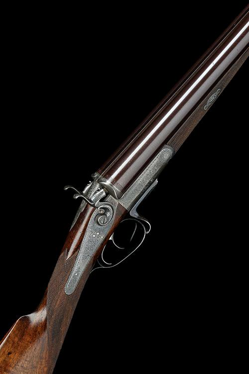 J. PURDEY A 12-BORE 1863 PATENT (FIRST PATTERN) THUMBHOLE-UNDERLEVER SNAP-ACTION HAMMERGUN, serial no. 7023,