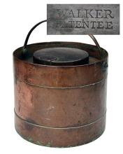 A SCARCE COMPLETE NAVAL COPPER POWDER MAGAZINE SIGNED ''WALKER PATENTEE'',