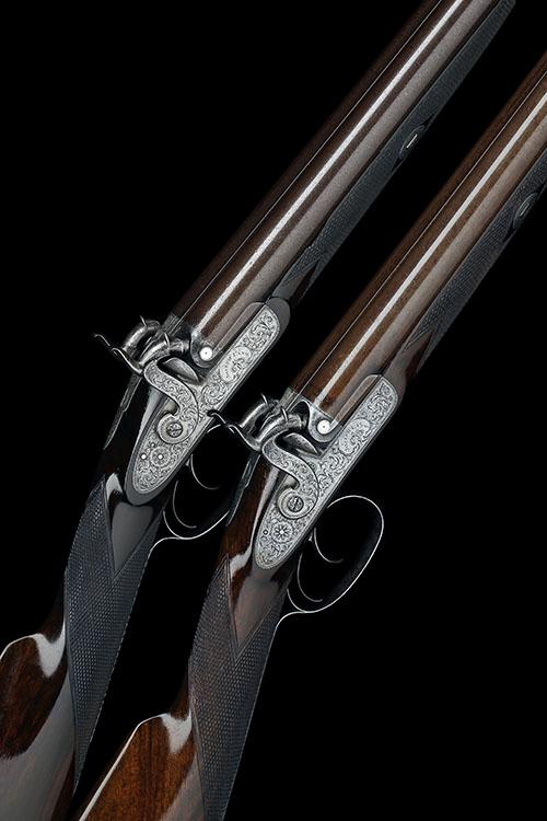 JOSEPH LANG, LONDON A RARE CASED PAIR OF 11-BORE PERCUSSION DOUBLE-BARRELLED PIGEON-GUNS, serial no''s. 1627 & 8,